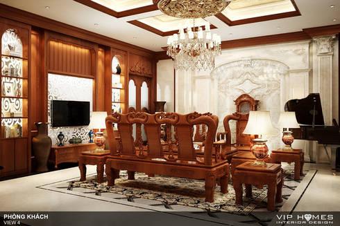Thiết kế nội thất phòng khách biệt thự song lập Lake View City:   by Công ty TNHH Không Gian Mo