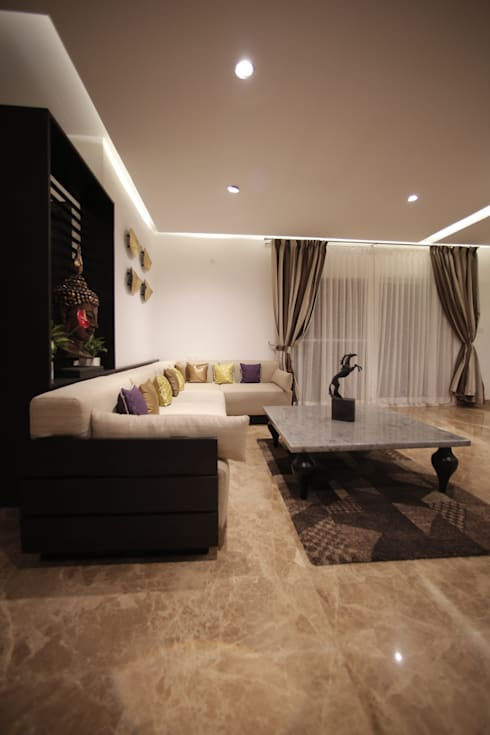 Tranquil Home:  Living room by Architecture Continuous