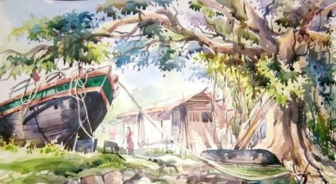 Beside Rupnarayan river:  Artwork by Indian Art Ideas