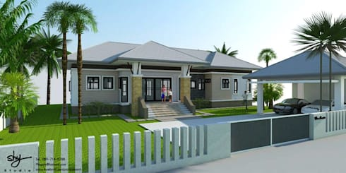ออกแบบบ้าน คุณหนึ่ง @ อ.น้ำหนาว:   by HAU Design & Construction