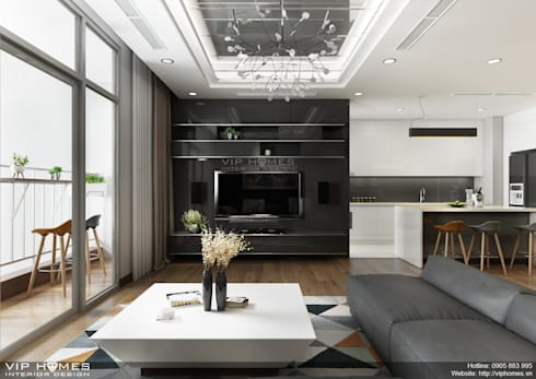Thiết kế nội thất phòng khách chung cư Vinhomes Central Park:   by Công ty TNHH Không Gian Mo