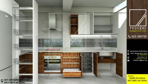 Vista de Organizadores de Cocina: Muebles de cocinas de estilo  por F9 studio Arquitectos