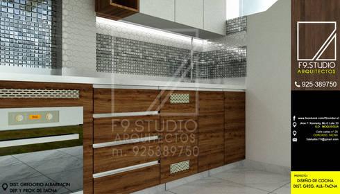 Vista detalle de Mueble: Muebles de cocinas de estilo  por F9 studio Arquitectos
