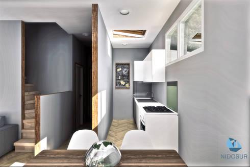 Interior - Comedor/Cocina: Cocinas equipadas de estilo  por NidoSur Arquitectos