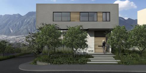 Casa AA- Fachada Frontal: Casas unifamiliares de estilo  por VOA Arquitectos