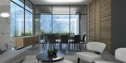 Casa AA: Comedores de estilo moderno por VOA Arquitectos