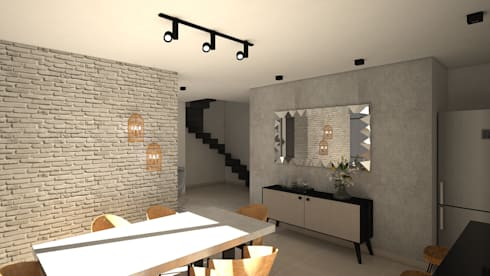 industrial Dining room by ecoexteriores