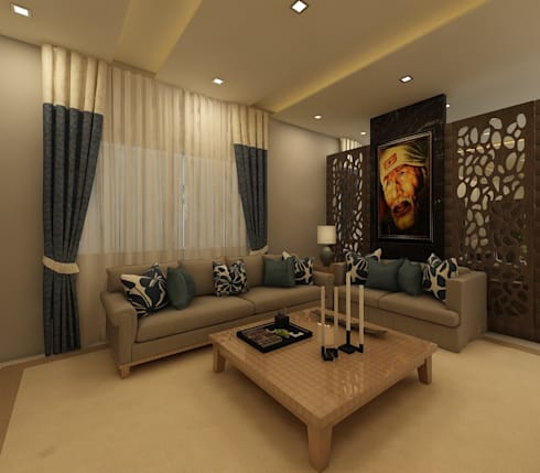 Living Room : country Living room by Regalias India Interiors & Infrastructure