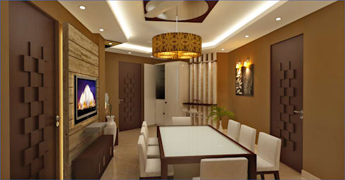 Dining area with good combination of light & colors: modern Living room by Mi-Decor