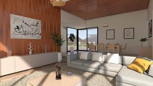 Vivienda Las Animas: Livings de estilo rural por Uno Arquitectura