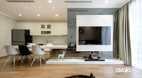 Căn hộ Park Hill ấm cúng và tiện dụng:  Phòng khách by Công ty cổ phần NỘI THẤT AVALO