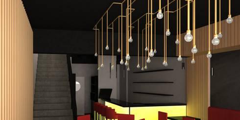 REMODELACIÓN DE RESTAURANTE DE SUSHI: Escaleras de estilo  por DIEGO ALARCÓN & MANUEL RUBIO ARQUITECTOS LIMITADA