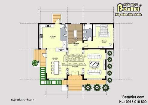 Mặt bằng tầng 1 mẫu nhà biệt thự 2 tầng hiện đại BT14494:   by Công Ty CP Kiến Trúc và Xây Dựng Betaviet