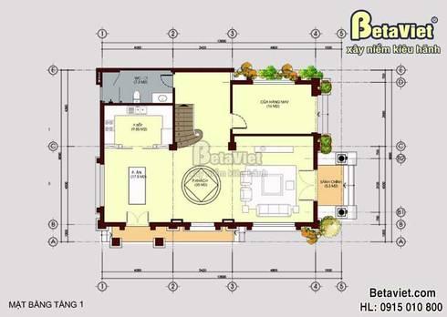 Mặt bằng tầng 1 mẫu biệt thự đẹp 3 tầng cổ điển BT15060:   by Công Ty CP Kiến Trúc và Xây Dựng Betaviet
