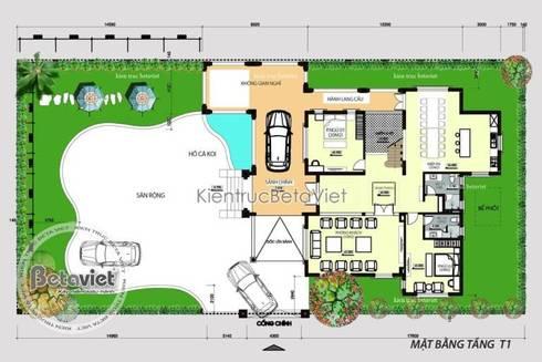Mặt bằng tầng 1 thiết kế biệt thự nhà vườn 2 tầng Hiện đại KT16082:   by Công Ty CP Kiến Trúc và Xây Dựng Betaviet