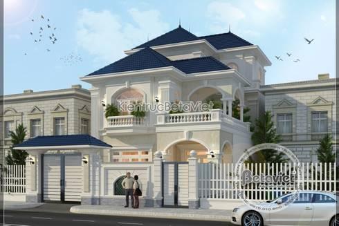 Phối cảnh thiết kế biệt thự đẹp 3 tầng Tân cổ điển kiến trúc châu Âu KT16078:   by Công Ty CP Kiến Trúc và Xây Dựng Betaviet