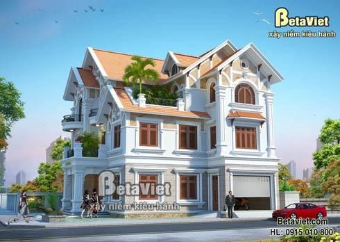 Phối cảnh mẫu thiết kế biệt thự đẹp 3 tầng Tân cổ điển BT14513:   by Công Ty CP Kiến Trúc và Xây Dựng Betaviet