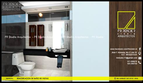Vista de Baño de Visitas: Baños de estilo moderno por F9 studio Arquitectos