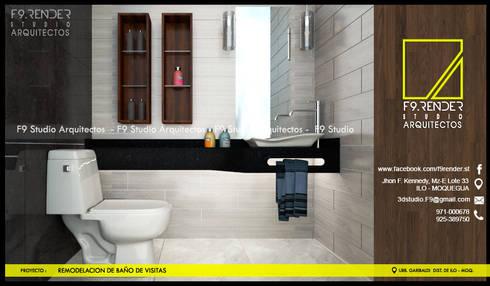 Detalle de encimera de Granito Negro: Baños de estilo moderno por F9 studio Arquitectos