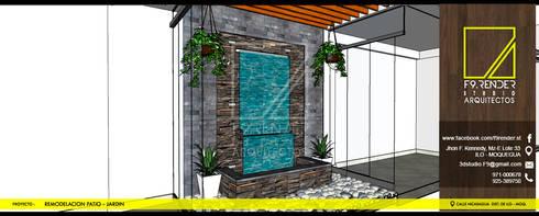 Vista de Muro LLoron: Jardines en la fachada de estilo  por F9 studio Arquitectos