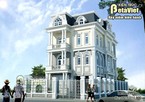 Phối cảnh mẫu thiết kế biệt thự nhà đẹp 3 tầng Tân cổ điển BT14377:   by Công Ty CP Kiến Trúc và Xây Dựng Betaviet