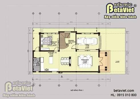 Mặt bằng tầng 1 mẫu thiết kế biệt thự nhà đẹp 3 tầng Tân cổ điển BT14377:   by Công Ty CP Kiến Trúc và Xây Dựng Betaviet
