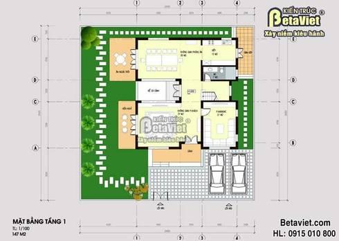 Mặt bằng tầng 1 mẫu biệt thự 3 tầng Hiện đại BT14517:   by Công Ty CP Kiến Trúc và Xây Dựng Betaviet