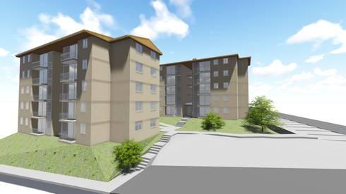 Modelado rápido de edificios para inmobiliaria:  de estilo  por Área Urbana Arquitectos SpA