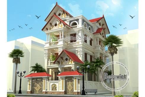 Phối cảnh thiết kế biệt thự đẹp 4 tầng Cổ điển KT16071:   by Công Ty CP Kiến Trúc và Xây Dựng Betaviet