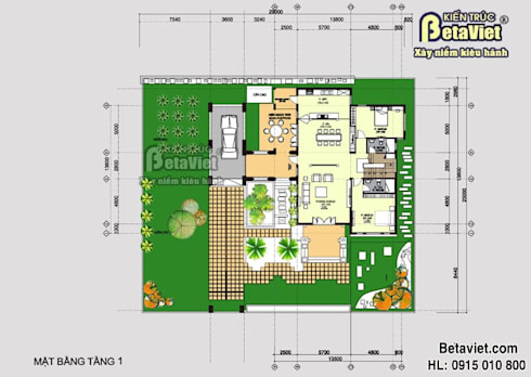 Mặt bằng mẫu biệt thự đẹp 2 tầng phong cách hiện đại châu Âu BT14484:   by Công Ty CP Kiến Trúc và Xây Dựng Betaviet