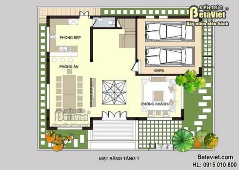Mặt bằng tầng 1 mẫu nhà biệt thự đẹp 3 tầng Hiện đại BT14490:   by Công Ty CP Kiến Trúc và Xây Dựng Betaviet
