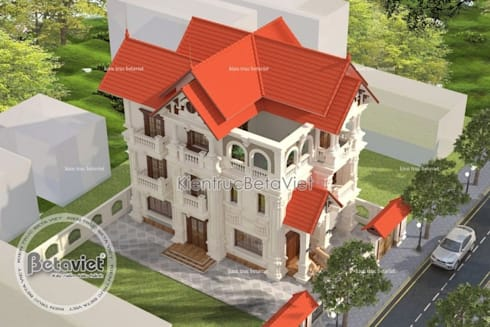 Phối cảnh thiết kế biệt thự đẹp 3 tầng kiểu Pháp Cổ điển KT16065:   by Công Ty CP Kiến Trúc và Xây Dựng Betaviet