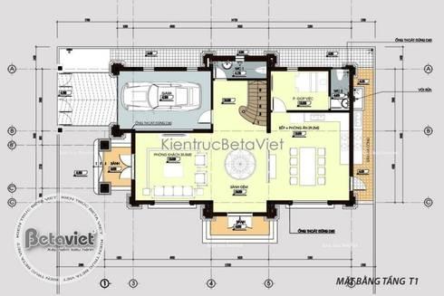 Mặt bằng tầng 1 thiết kế biệt thự đẹp 3 tầng kiểu Pháp Cổ điển KT16065:   by Công Ty CP Kiến Trúc và Xây Dựng Betaviet