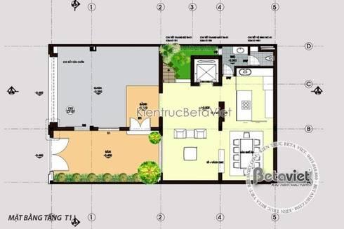 Mặt bằng tầng 1 mẫu thiết kế biệt thự Tân cổ điển 4 tầng KT16101:   by Công Ty CP Kiến Trúc và Xây Dựng Betaviet