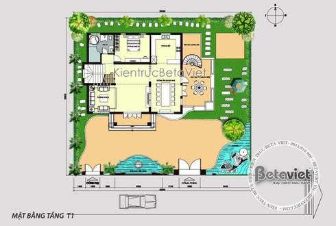 Mặt bằng tầng 1 mẫu thiết kế biệt thự 3 tầng Hiện đại KT16301:   by Công Ty CP Kiến Trúc và Xây Dựng Betaviet