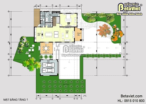 Mặt bằng tầng 1 mẫu dinh thự – biệt thự đẹp 2 tầng Hiện đại Châu Âu BT14507:   by Công Ty CP Kiến Trúc và Xây Dựng Betaviet