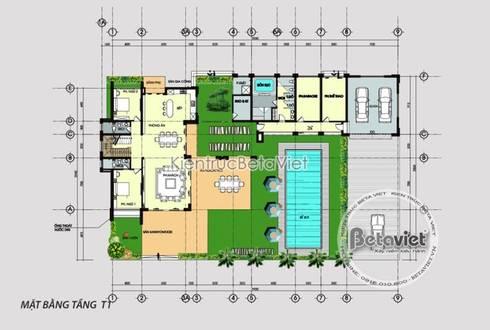Mặt bằng mẫu thiết kế biệt thự hiện đại 3 tầng đẹp KT17033:   by Công Ty CP Kiến Trúc và Xây Dựng Betaviet