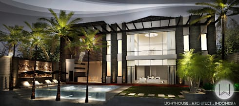 Tampak Belakang & Pool Area:  Rumah by Lighthouse Architect Indonesia