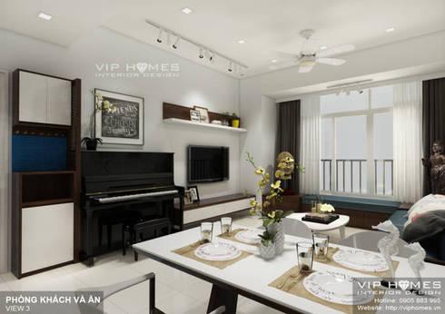 Thiết kế nội thất căn hộ chung cư Thuận Kiều 110m2:   by Công ty TNHH Không Gian Mo