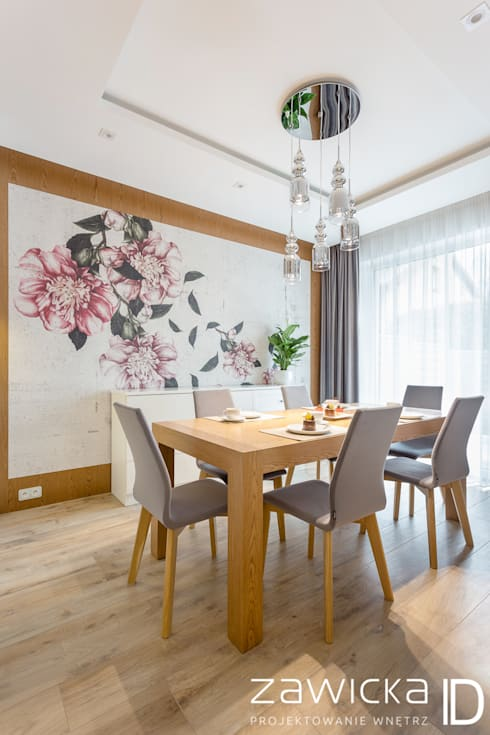 Salas de jantar modernas por ZAWICKA-ID Projektowanie wnętrz