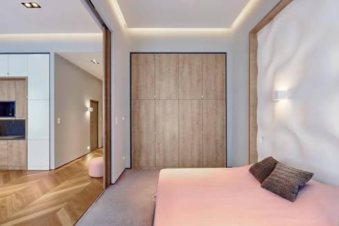 Schlafzimmer Wandgestaltung mit 3D Effekt und Betonlook von Loft ...