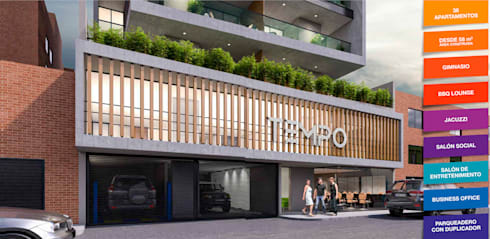 Tempo Urban Apartments: Casas de estilo moderno por Construcciones y Urbanizaciones SAS