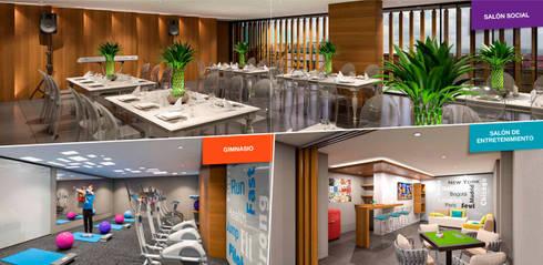 Tempo Urban Apartments: Salas de estilo moderno por Construcciones y Urbanizaciones SAS