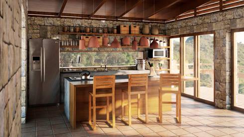 Cocina : Muebles de cocinas de estilo  por PROMENAD ARQUITECTOS