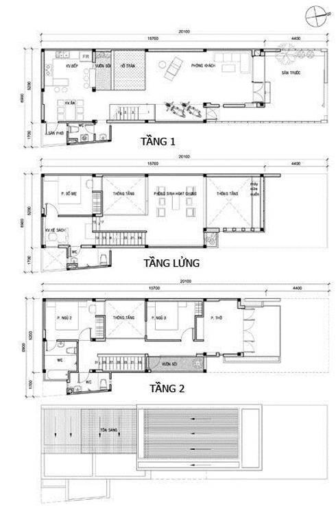 Bản vẽ mặt bằng thiết kế kiến trúc.:  Nhà gia đình by Công ty TNHH Thiết Kế Xây Dựng Song Phát