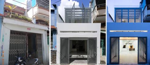 Mặt tiền ngôi nhà phố sau khi cải tạo sửa chữa.:  Nhà by Công ty TNHH Thiết Kế Xây Dựng Song Phát