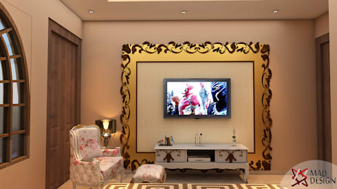 colonial Media room by MAD DESIGN