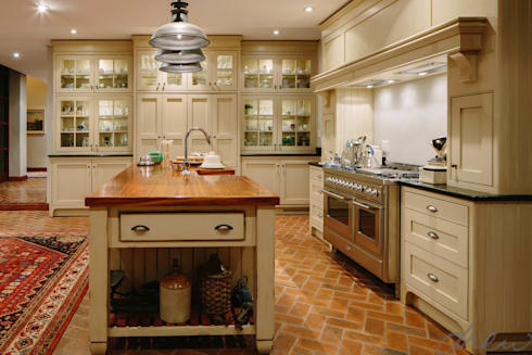 city skyline farmhouse: classic Kitchen by drew architects + interiors