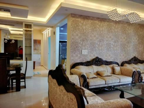 DLF Westend Heights—A1124: modern Living room by Pebblewood.in