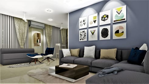 PROPOSED APARTMENT INTERIOR AT KONDHWA, PUNE. : modern Living room by DESIGN EVOLUTION LAB